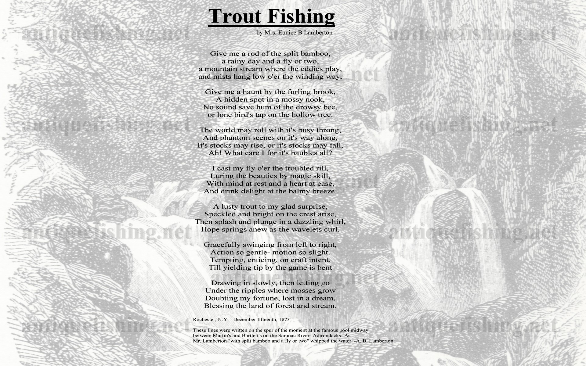 Flyfishing poem trout fishing for Poems about fishing in heaven